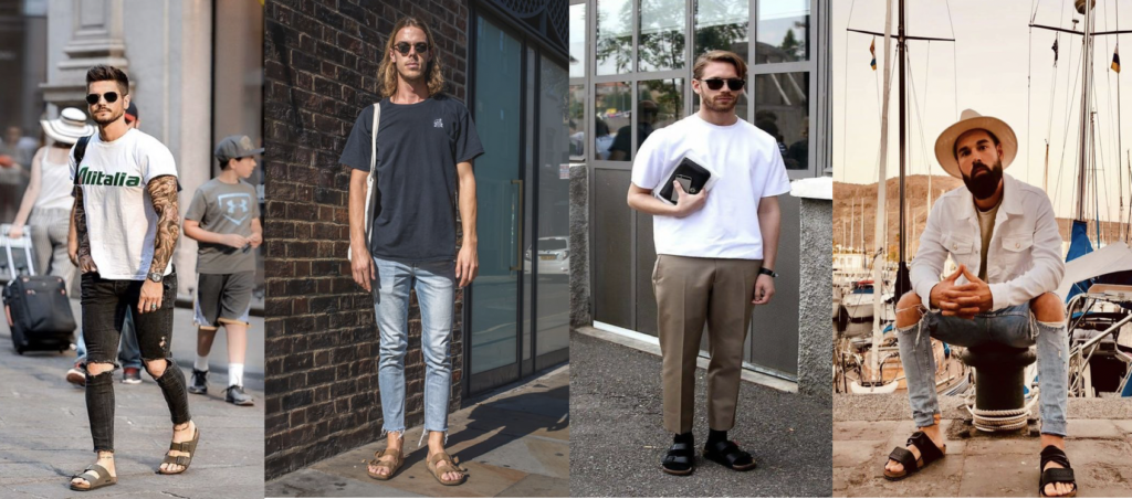 Different male models wearing birkenstock scandals